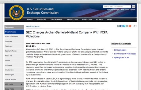 ADM Settles FCPA and Economic Sanctions Charges